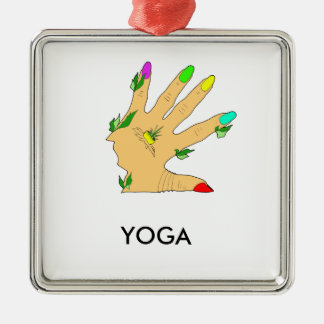 magic hand with colors nails metal ornament