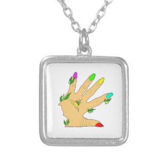 magic hand with colors nails square pendant necklace