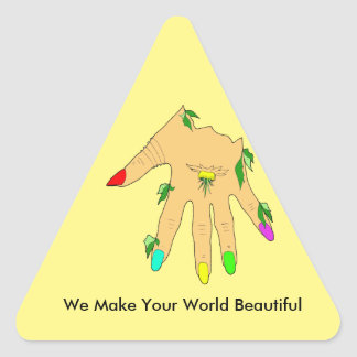 magic hand with colors nails triangle sticker