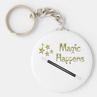 Magic Happens Basic Round Button Keychain