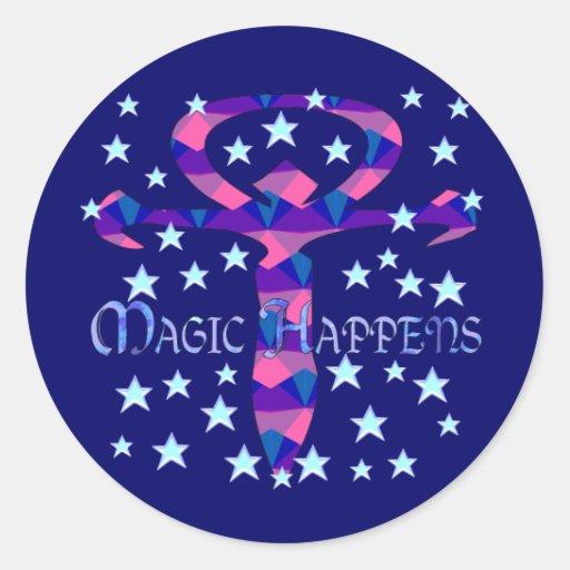 Magic Happens Classic Round Sticker