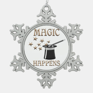 Magic Happens Snowflake Pewter Christmas Ornament