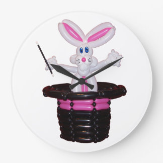 Magic Hat with Rabbit balloon sculpture by Stretch Large Clock