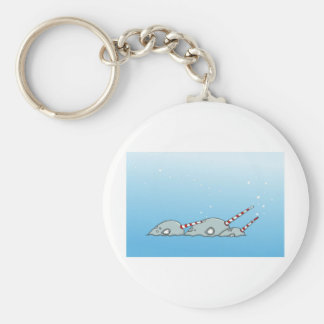 Magic holiday Narwals Basic Round Button Keychain