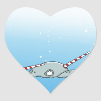 Magic holiday Narwals Heart Sticker
