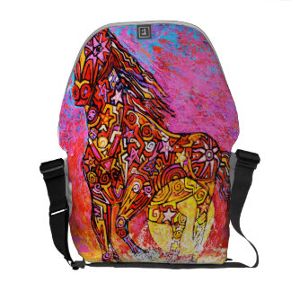Magic horse running in surf. courier bag
