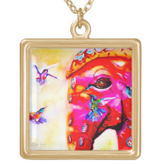 """Magic in All Sizes"" Hummingbirds & Elephant Print Gold Plated Necklace"