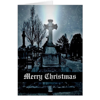 Magic in the cemetery Gothic Merry Christmas Cards