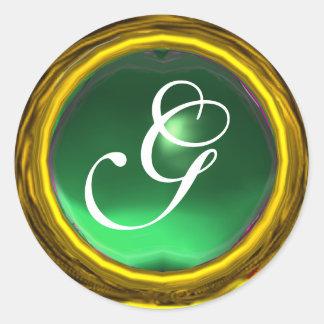 MAGIC JADE MONOGRAM bright vibrant green yellow Sticker