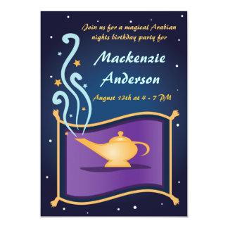 "Magic Lamp & Flying Carpet Birthday Invitation 5"" X 7"" Invitation Card"