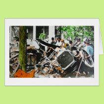 Magic Lantern Car Wreck Accident Vintage Card