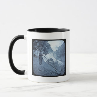 Magic Lantern Slide Alp Horn Vintage Cyan Mug