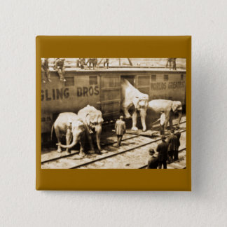 Magic Lantern Slide Ringling Bros Elephant Train Pinback Button