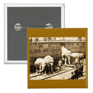 Magic Lantern Slide Ringling Bros Elephant Train Pinback Button