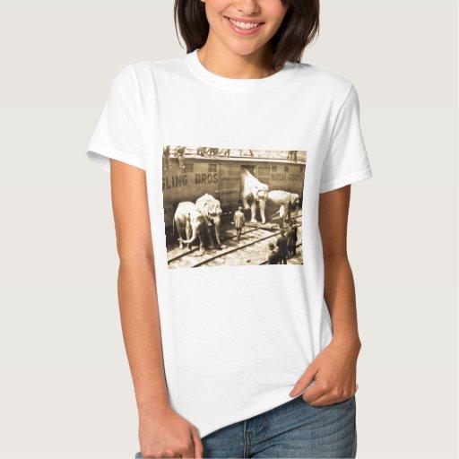 Magic Lantern Slide Ringling Bros Elephant Train T-Shirt