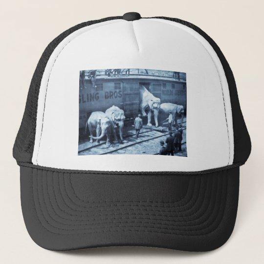 Magic Lantern Slide Ringling Bros Elephant Train Trucker Hat