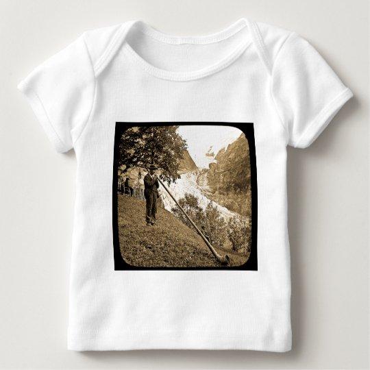 Magic Lantern Slide Swiss Alps Horn Blower Baby T-Shirt