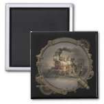 Magic Lantern - Steampunk Style Frame. 2 Inch Square Magnet