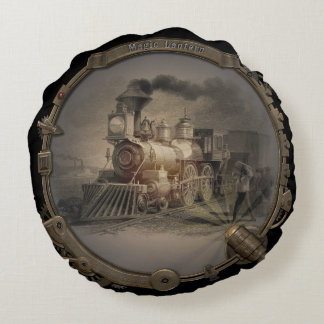 Magic Lantern - Steampunk Style Frame. Round Pillow
