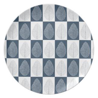 Magic Leaf on Blue Melamine Plate