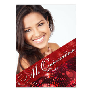 Magic Lights Photo Quinceanera - red Card