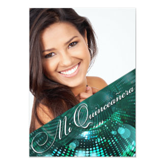 Magic Lights Photo Quinceanera - teal Personalized Invitation