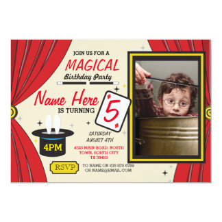 Magic Magician Any Age Birthday Party Photo Invite