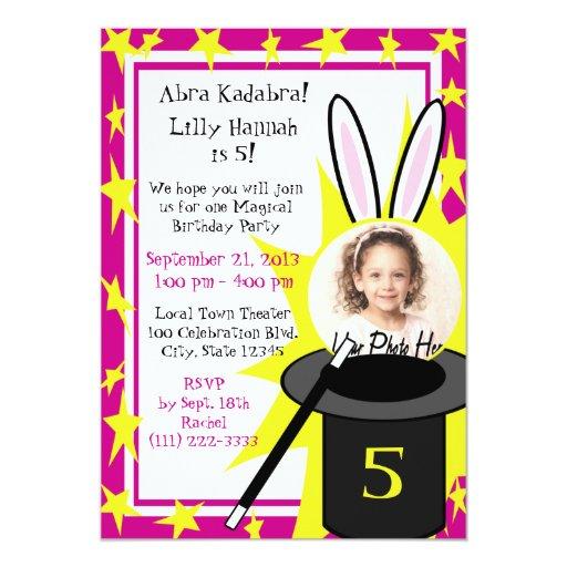 Magic Me Birthday Pink 5x7 Paper Invitation Card