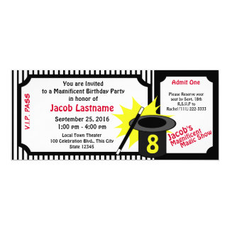 Magic Me Birthday Red 4x9.25 Paper Invitation Card