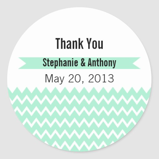 Magic Mint and White Chevron Pattern Thank You Sticker