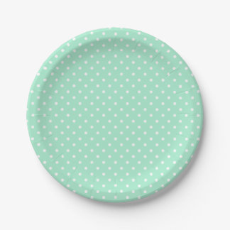 Magic Mint and White Polka Dot Pattern 7 Inch Paper Plate