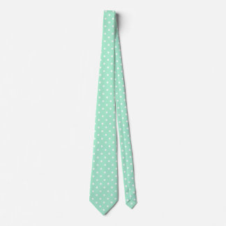 Magic Mint and White Polka Dot Pattern Neck Tie