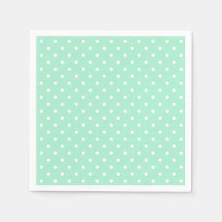 Magic Mint and White Polka Dot Pattern Paper Napkin