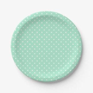 Magic Mint and White Polka Dot Pattern Paper Plate