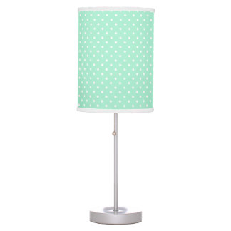Magic Mint and White Polka Dot Pattern Table Lamp