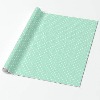 Magic Mint and White Polka Dot Pattern Wrapping Paper