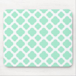 Magic Mint and White Quatrefoil Pattern Mouse Pad