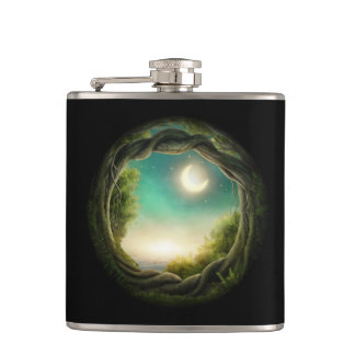 Magic Moon Tree 6 oz Vinyl Wrapped Flask