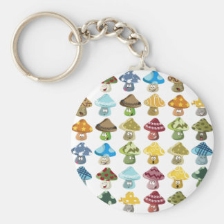 Magic Mushroom Smiley Pattern Keychain