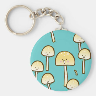 Magic Mushrooms Doodle Art Basic Round Button Keychain
