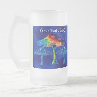 Magic Mushrooms Frosted Glass Beer Mug