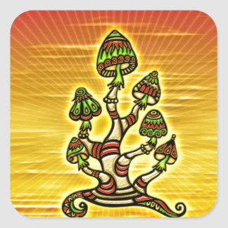 Magic Mushrooms - hechizos hongos Pegatina Cuadrada