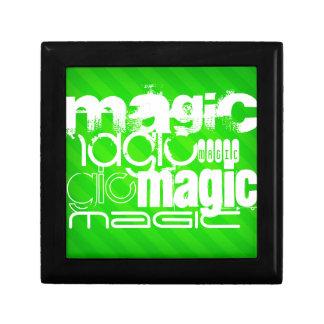 Magic; Neon Green Stripes Trinket Boxes