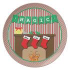 Magic • Night Before Christmas • 3 Stockings Melamine Plate
