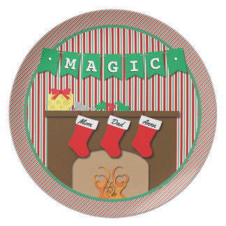Magic • Night Before Christmas • 3 Stockings Melamine Plate