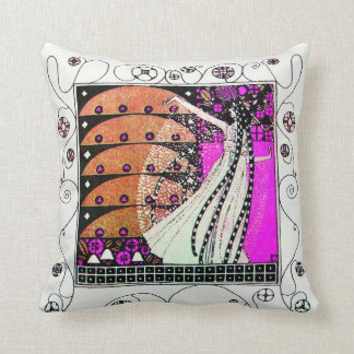 MAGIC OF THE  SPRING ,black.white ,violet,brown Pillows