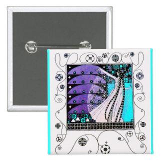MAGIC OF THE SPRING bright blue black white purple Pin