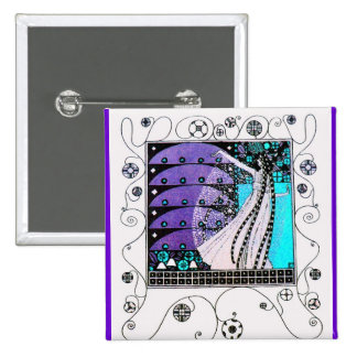 MAGIC OF THE SPRING bright blue black white purple Pins