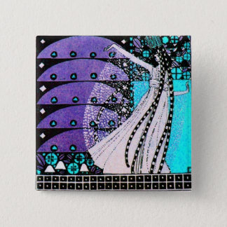 MAGIC OF THE SPRING bright blue black white purple Button
