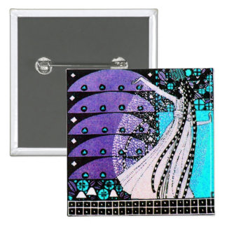 MAGIC OF THE SPRING bright blue black white purple Pinback Buttons